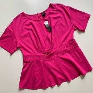 Worthington Hot Pink Short Sleeve size 1X top